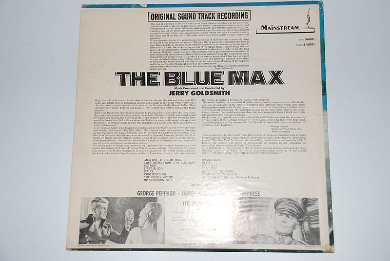 THE BLUE MAX Vinyl Soundtrack by Jerry Goldsmith