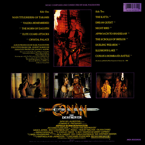 CONAN THE DESTROYER Vinyl Soundtrack by Basil Poledouris Rear Cover